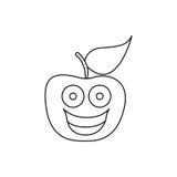 Figure kawaii fruit apple happy icon Stock Photo