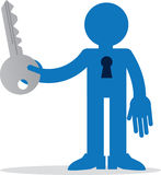 Figure With Keyhole. Figure holding key with keyhole through chest Royalty Free Stock Photography
