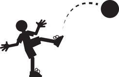 Figure Kicking Ball. Silhouette figure kicking a ball Royalty Free Stock Photos
