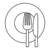 Figure knife, fork and plate icon Royalty Free Stock Photo