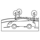 Figure la voiture dans la route avec l'icône d'arbres Image libre de droits