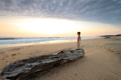 Figure in a landscape. By the ocean Stock Image