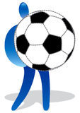 Figure with large soccer ball Royalty Free Stock Image