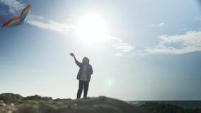 Figure le petit garçon par vacances d'été colorées de paysage marin de cerfs-volants de vol banque de vidéos