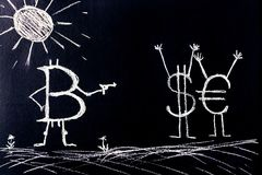 Figure - le symbole de Bitcoin a menacé par un dollar d'arme Croissance d'abstraction et de concept de devise électronique, la cr Image stock