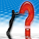 Figure leans on question mark royalty free illustration