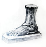 Figure of a leg a foot of the person. Anatomy /  skeleton of the man is drawn by a pencil on a white paper.Drawing studio works Royalty Free Stock Photo