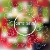 Figure les ingrédients à une salade grecque sur un b brouillé Photographie stock