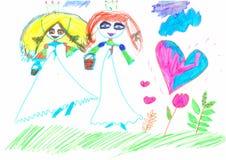 Figure les marqueurs colorés par enfant tiré sur une feuille de papier blanche Image stock