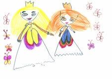 Figure les marqueurs colorés par enfant tiré sur une feuille de papier blanche Image libre de droits