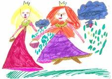 Figure les marqueurs colorés par enfant tiré sur une feuille de papier blanche Photo libre de droits