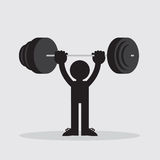 Figure Lifting Weights. Silhouetted figure lifting weights high Royalty Free Stock Images