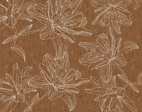 Figure lilies flowers on a wooden texture Stock Photography