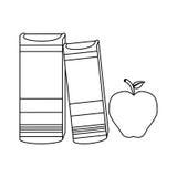 Figure livres à côté d'une pomme Photographie stock