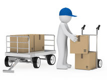 Figure load package. Figure load a package on hand truck Royalty Free Stock Photo