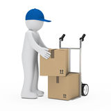 Figure load package. Figure load a package on hand truck Royalty Free Stock Images