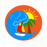 Figure logo industry tourism. Wave yacht sun palm Royalty Free Stock Images