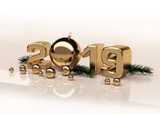 Figure lucide 3D dell'oro del nuovo anno illustrazione di stock