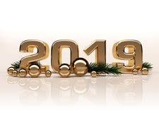 Figure lucide 3D dell'oro del nuovo anno illustrazione vettoriale