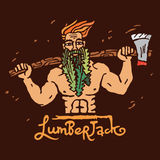Figure lumberjack with an ax on his shoulders. Vector illustration on brown  background Stock Images