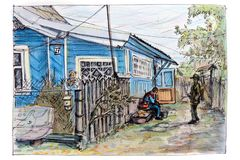 A conversation between two men in the yard of his village house. royalty free illustration