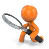 Figure with magnifying glass. Illustration of three dimensional orange figure with magnifying glass, isolated on white background Royalty Free Stock Photos