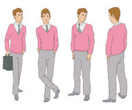 The figure of a man in four angles. The figure of one man in four different poses Royalty Free Stock Photos