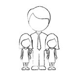 Figure man her girls twins icon Stock Image
