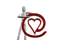 Figure Man Is Holding Love Icon.  Royalty Free Stock Image