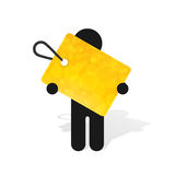 Figure man holds label. Figure man holds yellow label Royalty Free Stock Image