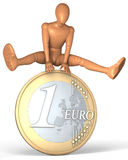 Figure, man jumping over euro coin. Illustration, rendering  on white background Stock Image