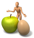 Figure, man offering apple and egg - metaphor for bargain. Illustration, rendering  on white background Royalty Free Stock Photos