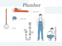 The figure of a man in the plumbing in a blue overall, the plumber stands and squats. Pipes, tools: teflon tape, pipe wrench, plunger. Siphon trap Royalty Free Stock Images