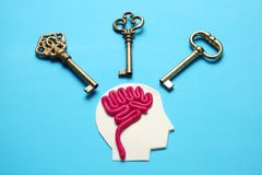Figure of man and three keys. Business problems and solution royalty free stock image