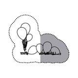 Figure many balloon icon. Illustraction design Stock Image