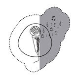 Figure microphone instrument note music icon Stock Photography