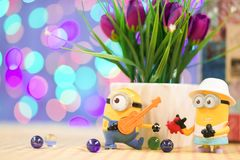 Figure model of Minions toy from Despicable Me 2 the movie stock image
