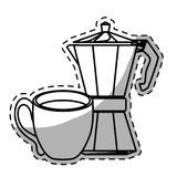 Figure moka pot with coffee cup. Illustration image Royalty Free Stock Photos