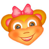 Figure monkey head for icons, emoticons. Figure monkey head for icons, emoticons, a jolly cat with a pink bow Stock Photo