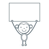 Figure monkey with a wood in the hand icon. Illustraction design Royalty Free Stock Photos