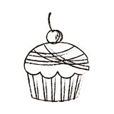 Figure muffin with cherry icon. Illustraction design image Royalty Free Stock Images