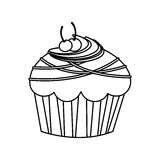 Figure muffin with cherrys and chocolate icon. Illustration Royalty Free Stock Photos