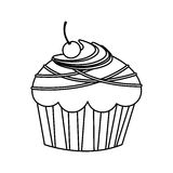 Figure, muffin with chocolate and cherry. Illustration design Stock Photos