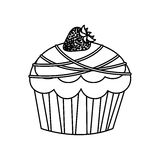 Figure muffin with chocolate and strawberry icon. Illustration design Royalty Free Stock Photos
