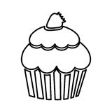 Figure muffin with strawberry icon. Illustraction design Stock Photography