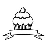 Figure muffin with strawberry and ribbon icon. Illustraction design Stock Photos