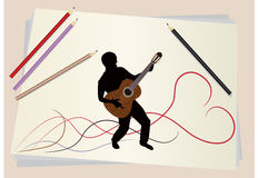 Figure musician. A pencil sketch of a musician with an acoustic guitar Stock Image
