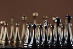 Figure nere di scacchi Fotografie Stock Libere da Diritti