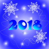 Luminous figure new year 2018. Figure new year 2018 on a blue background with stars and fluffy white-transparent snowflakes Royalty Free Stock Image