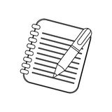 Figure notebook with pen icon Royalty Free Stock Image